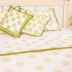 Attiser - Olive Green Bedding - Sage Midori Handmade Quilt as you shop for bedding. It is a full queen comforter of exquisite handmade beauty, its olive on white design a lovely integration of Celtic art and geometric curiosity..Hand Block Printed from Attiser