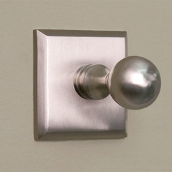 Solid Brass Robe Hook with Square Base - Brushed Nickel - Add a convenient place to hang robes, towels and clothes in your bathroom. The solid brass, classic knob hook and square backplate blend well in any bath or powder room.