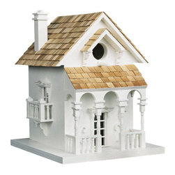 Honeymoon Cottage Bird House - White with Red Cedar Shingle Roof - The Honeymoon Cottage Bird House is the perfect retreat for the newlyweds. Fully functional birdhouse has a single cavity and will attract wrens, finches, chickadees and titmice. Bracket and hardware for mounting are included.