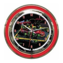 """Michael Godard Fine Art - Nasbar Clock (18 in.) - Choose Size: 18 in.. Inner neon white to illumiate artwork. Exterior neon colored. Power: Ac adapter plugs into power outlet (120v) requires 1 """"aa"""" battery. Pull chain gives customer choice of blink feature or solid neon. Case in polished chrome finish resin housing. 14 in.: 14 in. Dia. x 3.25 in. D (5 lbs.). 18 in.: 18 in. Dia. x  5 in. D (10 lbs.)"""
