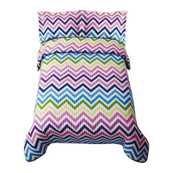 Pem America - ZigZag Sorbet Twin Quilt with Pillow Sham - Fun zig zag stripes in a rainbow of colors are sure to kick up the fun in any bedroom.  This pattern is easy care and a great value! Quilt set includes 1 twin quilt, 68x86 inches and 1 standard sham, 20x26 inches. 55% Polyester / 45% Cotton Blend face, with 100% Hypoallergenic Polyester fill. Machine Washable.