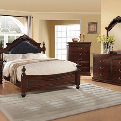 "Acme - 5-Piece Gwyneth Ii Collection Cherry Finish Wood Bedroom Set - 5-Piece Gwyneth II collection cherry finish wood with black padded and intricate design carvings on the headboard and footboard queen bedroom set. This set includes the queen bed with headboard and footboard, nightstand, dresser, mirror and chest. Queen bed measures 63"" H to the top of the headboard. Nightstand measures 26"" x 16"" x 28"" H. Dresser measures 63"" x 16"" x 34"" H. Mirror measures 42"" x 46"". Chest measures 38"" x 16"" x 52"" H. Some assembly required."