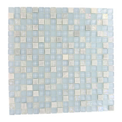 "Morning Mist Blend Marble & Glass Tile - MORNING MIST BLEND 1/2"" X 1/2"" GLASS TILE The smooth glass and stone combinaton creates a beautifully multi-dimensional effect. Great to install in kitchen back splashes, bathrooms, and any decorated spot in your home. The mesh backing not only simplifies installation, it also allows the tiles to be separated which adds to their design flexibility. Chip Size: Squares 1/2"" x 1/2"" Color: Light Gray, Sky Blue, Clear Iridescent Material: Stone and Glass Finish: Polished and Frosted Sold by the Sheet - each sheet measures 12"" x 12"" (1 sq. ft.) Thickness: 8mm"