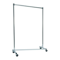 Z Racks - Heavy Duty Z-Rack Garment Rack w 72 in. Uprig - Base Color: White/Off-White. 500lb capacity. 14 gauge, 60 in. Long steel base (Environmentally safe powder coated finish ). 16 gauge, 72 in. upright bars and hang rail. 1 5/16 outside diameter upright bars and hang rail. Grey non-marking soft rubber with TP center 4 in. casters. Made in the USA. 63 in. L x 23 in. W x 79 in. HThe apparel industry relies on space-saving clothes racks for many reasons but because the shape of the Z-Rack folds right into another unit, it is able to be moved out of the way. More floor space is a great reason to choose it, but so is this rack�۪s long-lasting durability. Able to hold 500 lbs, with a five foot base and uprights that extend up to six feet, it�۪s a mobile multi-purpose rack that can provide needed storage and organization anywhere you need more hanging space.