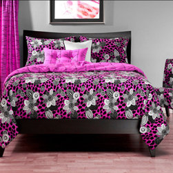 Siscovers - Wild Cat Black and White Six Piece Queen Duvet Set - - Graphic flowers float over a fuchsia leopard print  - Set Includes: Duvet - 94x98, Two Queen Shams - 30x20, One Decorative Pillow - 16x16, One Decorative Pillow - 26x14  - Inserts: Polyester  - Duvet Material: 100% Polyester  - Sham Material: 100% Polyester  - Pillow Material: 100% Polyester  - Workmanship and materials for the life of the product. SIScovers cannot be responsible for normal fabric wear, sun damage, or damage caused by misuse  - Reversible Duvet and Shams  - Care Instruction: Machine Wash  - Made in USA of Fabric made in China Siscovers - WICA-XDUQN6