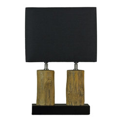 Cortesi Home - Stump Table Lamp - The Stump lamp adds a natural tone to your home decor. What appears to be two wooden logs are actually stone slabs making this lamp very sturdy. The rectangular shade is black and the stone logs are a yellow-brown. This lamp also features dual lamp sockets for a brighter light. UL approved. ON/OFF switch on  plug-in cord.  40 Watt Bulb Max (Not Included)
