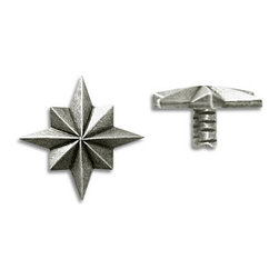 "Compliments Accessories - Astral Tile Tack - Faceted 3/4"" Star Tile Tack with a 1/4"" stem in a Pewter finish"