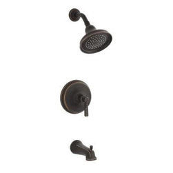 Kohler - Kohler K-T10581-4-2BZ Oil Rubbed Bronze (2BZ) Bancroft Single Handle - Bancroft  Rite-Temp  pressure-balancing bath and shower faucet trim with diverter spout and metal lever handle, valve not included  Carry the sophisticated style of the Bancroft Suite through the bath or powder room with this Bancroft bath and shower trim, featuring metal handles. Using Rite-Temp  pressure-balancing technology, water temperature is maintained within +/-3 degrees Fahrenheit, while a preset maximum temperature prevents scalding.    Premium material construction for durability and reliability  KOHLER finishes resist corrosion and tarnishing, exceeding industry durability standards by over two times