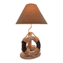 Nautical Lifesaver Table Lamp 28 In. - This beautiful nautical lamp is a great way to recreate that dockside feeling in your home. It is made from wood and features three dock posts, a starfish, and a life preserver, that are all hand painted and accented by rope. This unique piece stands 28 inches tall and has a diameter of 17 inches at the bottom of the lamp shade (its widest point). The lamp shade is a tan canvas and perfectly complements the look and feel of this brilliant piece. A perfect gift idea for those that love the water! This lamp uses a standard light bulb that is not included.