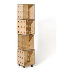 OFFI - Perf Boxes, 4 Stack - Designed by OFFI. Black locking casters.