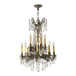 Worldwide Lighting - Solid Brass Chandelier 24 In. - 12 Light in Antique Bronze Finish & Golden Teak - This 12-light Solid Brass Collection chandelier in Antique Bronze finish and Golden Teak crystal is a stunning addition to your home and is dressed with our 30% PbO Premier Crystal glass. Worldwide Lighting Corporation is a premier designer manufacturer and direct importer of fine quality chandeliers, surface mounts, and sconces for your home at a reasonable price. You will find unmatched quality and artistry in every luminaire we manufacture.