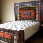Custom Zapotec rug knotty alder bed -