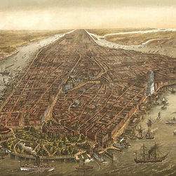 New York City  Panoramic - 1873 Wall Map Mural - Peel and Stick 3-Panel - A gorgeous panoramic view of New York City circa 1873. The colorfully illustrated  birds-eye view of Manhattan captures the city as it was in 1873. In the  foreground we see an excellent view of Battery Park, where the East River and  Hudson River meet. The iconic Brooklyn Bridge appears in all its glory despite  its construction not being completed until 1883. As America's largest city  stretches into the horizon you can just make out Central Park in the distance.