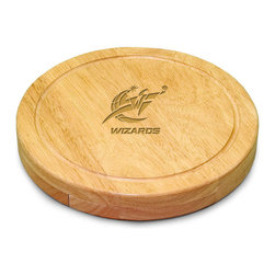 "Picnic Time - Washington Wizards Circo Cheese Board in Natural - The Circo by Picnic Time is so compact and convenient, you'll wonder how you ever got by without it! This 10.2"" (diameter) x 1.6"" circular chopping board is made of eco-friendly rubberwood, a hardwood known for its rich grain and durability. The board swivels open to reveal four stainless steel cheese tools with rubberwood handles. The tools include: 1 cheese cleaver (for crumbly cheeses), 1 cheese plane (for semi-hard to hard cheese slices), 1 fork-tipped cheese knife, and 1 hard cheese knife/spreader. The board has over 82 square inches of cutting surface and features recessed moat along the board's edge to catch cheese brine or juice from cut fruit. The Circo makes a thoughtful gift for any cheese connoisseur!; Decoration: Laser Engraved; Includes: 1 cheese cleaver (for crumbly cheeses), 1 cheese plane (for semi-hard to hard cheese slices), 1 fork-tipped cheese knife, and 1 hard cheese knife/spreader"