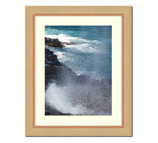 "Frames By Mail - Wall Picture Frame natural wood tone ribbed frame with acid-free white matte, 11 - This 11X14 2"" wide natural wood tone ribbed frame is imported from Italy. The white matte can be removed to accommodate a larger picture.  The frame includes regular plexi-glass (.098 thickness) foam core backing and can hang either horizontal or vertical."
