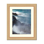"""Frames By Mail - Wall Picture Frame natural wood tone ribbed frame with acid-free white matte, 11 - This 11X14 2"""" wide natural wood tone ribbed frame is imported from Italy. The white matte can be removed to accommodate a larger picture.  The frame includes regular plexi-glass (.098 thickness) foam core backing and can hang either horizontal or vertical."""