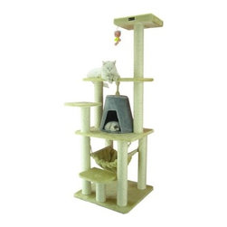 "Armarkat - 65"" Classic Cat Tree in Beige - Features: -Hammock.-Covered with beige faux fur.-Silver gray condo.-Easy to assemble with step by step instruction and tools.-Constructed of pressed wood.-Distressed: No.Dimensions: -Overall Dimensions: 65'' H x 28'' W x 30'' L.-Base Dimensions: 24'' W x 24'' D.-House Dimensions: 12'' H x 14'' W.-Perch Dimensions: 14'' W x 12'' D.-Posts: 3.5'' Dia.-Overall Height - Top to Bottom: 65.-Overall Width - Side to Side: 65.-Overall Depth - Front to Back: 30.-Overall Product Weight: 52 lbs."