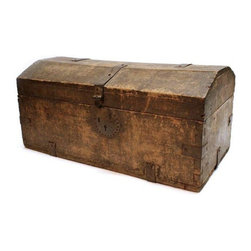 Used Mexican Wood Chest - This Mexican Wooden Chest will conceal all your doodads with character! Vintage, circa 1870s.