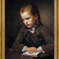 """Jean Baptiste Greuze-18""""x24"""" Framed Canvas - 18"""" x 24"""" Jean Baptiste Greuze Student with a Lesson-book framed premium canvas print reproduced to meet museum quality standards. Our museum quality canvas prints are produced using high-precision print technology for a more accurate reproduction printed on high quality canvas with fade-resistant, archival inks. Our progressive business model allows us to offer works of art to you at the best wholesale pricing, significantly less than art gallery prices, affordable to all. This artwork is hand stretched onto wooden stretcher bars, then mounted into our 3"""" wide gold finish frame with black panel by one of our expert framers. Our framed canvas print comes with hardware, ready to hang on your wall.  We present a comprehensive collection of exceptional canvas art reproductions by Jean Baptiste Greuze."""