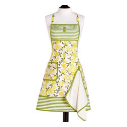 Jessie Steele Apron with Towel, Gigi Summer Lemons - This apron's sweet summer look beautifully combines green and white stripes with a yellow lemon motif. It's ideal for modern moms.