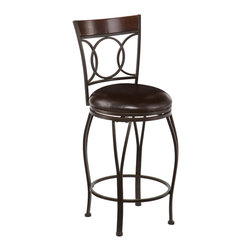 SEI - Granada Swivel Counter Stool - Add classic style and contemporary convenience to your home. The cast circles and curved legs of this counter stool create a sleek and sophisticated look. A powder-coated, dark champagne finish and durable steel frame deliver lasting quality. It features counter height seating, a cozy foam seat covered in rich dark brown vinyl, and a backrest accent in a rich walnut finish bentwood.