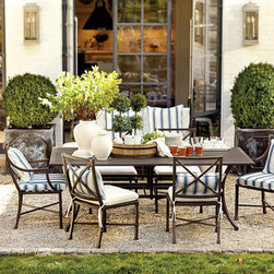 """Ballard Designs - Suzanne Kasler Directoire 7-Piece Rectangular Dining Set - 84 Inch - Set includes 4 Side Chairs & Two Arm Chairs with 84"""" Table. Includes Indoor/Outdoor Basic Stone Knife Edge Cushion. Deep Chocolate finish. Powder-coated to resist rust, fading and chipping. Coordinates with the Suzanne Kasler Directoire Dining & Lounge Collections. In this timeless Rectangular Dining Set, Suzanne Kasler captures the simple, elegant spirit of the directoire style with classic detailing and crisp contours. Slatted tabletop lets water drain through. Seat backs are accented with medallions on front and back for a beautiful view from any angle. Each piece is finely crafted with a fully welded aluminum frame, making it extremely durable and easy to maintain.Suzanne Kasler Dining Set features: . . . . ."""