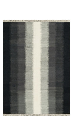 """Loloi Rugs - Loloi Rugs Santana Collection - Charcoal, 3'-6"""" x 5'-6"""" - The new Santana Collection takes a modern look at traditional kilims, employing the ancient flat weave construction, but with edgy new patterns for today. Choose from eight all-wool designs that have transitional and modern appeal. Made in India andfinished with fringed ends, Santana's color application recalls today's popular Ikat designs"""