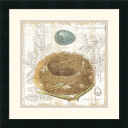 Amanti Art - Botanical Nest III Framed Print by Moira Hershey - The symbol of the bird nest is ripe with meaning, often linked to love, hope and success. Whether you follow these romantic ideas or are just charmed by this artwork by Moira Hershey, this piece can cultivate conversation and add a point of interest to your decor.