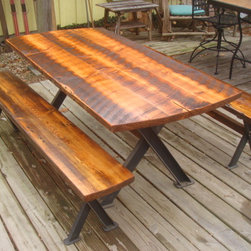 Antique Reclaimed Dining Table and Benches with Steel Base - Roughsawn antique reclaimed Heart Pine Dining Table with Steel X Base