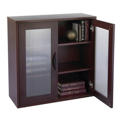 Safco - Storage Bookcase with Glass Doors 30-in. High - Mahogany Brown - SPC384 - Shop for Bookcases from Hayneedle.com! With stylish glass doors and a compact frame the Storage Bookcase with Glass Doors 30-in. High - Mahogany is short and sweet. It features two shelves adjustable in 2.5-inch increments allowing you to store items of all sizes. With frosted-glass doors this bookcase has a cool clean look. The .75-inch furniture-grade laminate wood is finished in a delightfully dark mahogany color. About Safco ProductsSafco products were specifically developed to meet the changing needs of the business world offering real design without great expense. Each product is designed to fit the needs of individuals and the way they work by enhancing comfort and meeting the modern needs of organization in the workplace. These products encourage work-area efficiency and ultimately work-life efficiency: from schools and universities to hospitals and clinics from small offices and businesses to corporations and large institutions airports restaurants and malls. Safco continues to offer new colors new styles and new solutions according to market trends and the ever-changing needs of business life.