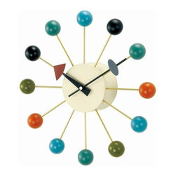 Control Brand - George Nelson Ball Clock - With the diversity of materials used and their sculptural shapes, George Nelson clocks embody the joie de vivre of the 1950s. To this day, his wall clocks, including the George Nelson Ball Clock, remain a refreshing alternative to the usual timekeepers. The multicolored ball clock is a fun, contemporary touch to any interior.  -Materials: Lacquered Wood, Metal, Zinc Alloy and high-grade quartz clockwork.  -1 AA battery not included.  -Measures: 13 1/8 in diameter X 2 3/4 deep. Control Brand - G81015CL