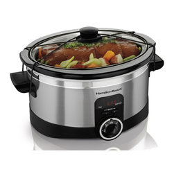 Hamilton Beach - Slow Cooker 6 Qt. - This Hamilton Beach Simplicity Slow Cooker has easy programmability. Just set the cooking time and temperature and it does the rest. Automatically switches to warm when time is up. Lid Latch strap anchors lid securely for easy travel and gasket lid helps prevent me Stainless Steely spills when used with the Lid Latch strap. It has Cook and Warm indicator lights, digital timer, time adjustment buttons and temperature dial. Perfect size for a 6 lb. chicken or 4 lb. roast. Stoneware and lid are dishwasher safe.