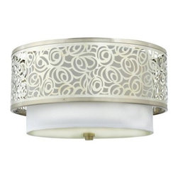 Quoizel Josslyn JS1615BN Flush Mount - 15W in. - Brushed Nickel - The layered design of the Quoizel Josslyn JS1615BN Flush Mount - 15W in. - Brushed Nickel delivers an artistic flair to any room in your home. Perfect for a bedroom or foyer, this fixture has a durable steel construction with a brushed nickel finish to complement the white silk fabric shade. The metal band is laser-cut with an abstract rose pattern, adding a beautiful finishing touch to this elegant semi-flush ceiling light.About Quoizel LightingLocated in Charleston, South Carolina, Quoizel Lighting has been designing timeless lighting fixtures and home accessories since 1930. They offer a distinctive line of over 1,000 styles, including chandeliers, lamps, and hanging pendants. Quoizel Lighting is the perfect way to add an inviting atmosphere to any area in your home, both indoors and out.