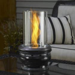 The Outdoor GreatRoom Company - Apollo Tabletop Gel Fuel Fireplace - Features: -Venturi Flame Technology uses a proprietary turbo disc combined with a glass cylinder to create a unique ''spinning'' aesthetic when using these portable fire pits, indoors or out.-Burns on an alcohol based ''gel'' fuel, that comes in a safe non-pourable can.-Indoors or outdoors.-Tempered glass construction.-Finish: Attractive Resin Finish.-Distressed: No.-Powder Coated Finish: No.-Gloss Finish: No.-Material: Aluminum; Glass.-Number of Products in Set: 1.-Hardware Material: Tempered Glass Cylinder, Aluminum Component Parts.-Fireplace Insert Only: No.-Freestanding Fireplace: Yes.-Wall Mounted Fireplace: No.-Tabletop Fireplace: Yes.-TV Stand Fireplace: No.-Fuel Type: Gel Fuel.-Plug In: No.-BTU Output: 9000 BTU.-Number of Burners: 1.-Fuel Capacity: 0.101562.-Burn Time of Fuel Accommodated: 3 hours.-Adjustable Temperature: No.-Adjustable Flame: No.-Flickering Flame Effect: Yes.-Flame Operational Without Heat: No.-Thermal Overload Protection: No.-Safety Shut Off: No.-Air Filter: No.-Built In Fan: No.-Mantel: No.-Light Type: Natural Flame.-Remote Control: No.-Timer Function: No.-Snuffer Included: Yes.-Swatch Available: No.-Commercial Use: No.-Eco-Friendly: Yes.-Country of Manufacture: United States.Specifications: -CSA Certified: No.Dimensions: -Overall Height - Top to Bottom: 17.-Overall Width - Side to Side: 10.-Overall Depth - Front to Back: 10.-Overall Product Weight: 14.Assembly: -Assembly Required: Yes.-Additional Parts Required: No.Warranty: -Product Warranty: 30 Day Warranty.