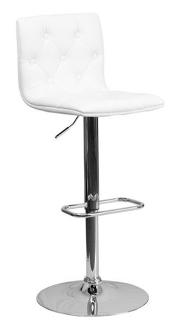 Flash Furniture - Flash Furniture Contemporary Tufted White Vinyl Adjustable Height Bar Stool - With its buttoned and tufted detailing, this adjustable height bar stool will make a lovely contemporary accent to your kitchen, dining, or bar area. The height adjustable swivel seat adjusts from counter to bar height with the handle located below the seat. The base and footrest have a chrome finish to complement the chair's modern design.