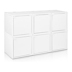 Way Basics - BOX (6 cubes), White - Box will easily stack, connect and align to create your perfect organizer! Form a 6-tiered nightstand or a side by side double cubby and accessorize with a door to hide that inevitable clutter. The simple, modern design of the Bo will complement and adorn any room.