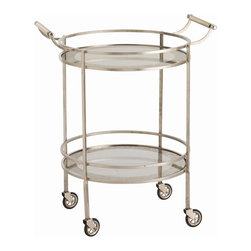 Arteriors - Wade Bar Cart, Vintage Silver - Give your room a shimmer of retro class with this round, transitional bar cart. The clean and classic design is accented with graceful touches like curved handles and mirrored shelves with antiqued borders. You can perch it against a quiet wall of the living or dining room and adorn it with flowers and glasses, or keep it in an out-of-the-way nook and roll it out to serve guests.