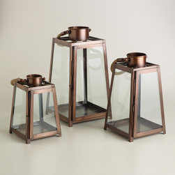 Copper Rope Handle Lanterns - The copper finish on these lanterns really updates the classic style. I think they look great as a grouping.