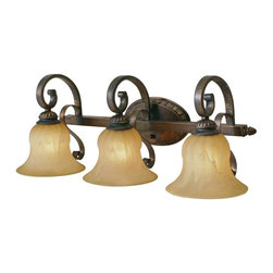 Golden Lighting - LC Leather Crackle Three Light Bathroom Fixture from the Mayfair Collection - Requires 3 100w Medium Bulbs (not included ) Features 3 Crme Brulee Glass Shades and a Leather Crackle Finish UL Listed for Damp Locations