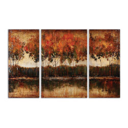 Uttermost - Trilakes Canvas Art Set of 3 - Rich, vibrant earth tone colors are featured in these hand painted landscapes. The canvases are stretched and mounted on wood stretching bars. Due to the handcrafted nature of this artwork, each piece may have subtle differences. Center-24x36x2, sides(2)-16x36x2.