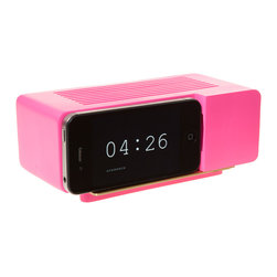 Jonas Damon - Alarm Dock - Pink - Jonas Damon - Remember those faux wood grain GE flip clocks that sat on every bedside table just a couple of decades ago? The Alarm Dock uses a nostalgic product language to meet the progressively thin and disappearing profiles of consumer electronics. It is at once a critique and an accommodation to new technology. Place an iPhone or iPod Touch running a flip clock app onto the dock, and see an iconic and meaningful form return to your nightstand, mantel, or shelf. Your iPhone or iPod's dock connector can be pulled through it, allowing your device to recharge while docked.