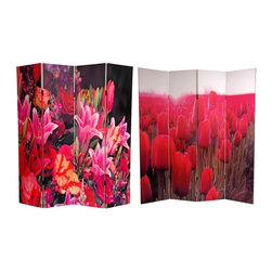 Oriental Furniture - 6 ft. Tall Double Sided Spring Flowers Canvas Room Divider - Treat yourself to a pair of lovely floral photographs blossoming with color. The image on the front is a tulip grove in rich red, sunlight blooming in the background. On the other side is a lovely close up of a mixed garden brimming with multi-colored varietals. These beautiful, brightly colored images will provide you with a functional, decorative accent piece for your living room, bedroom, dining room, or kitchen. This four panel screen has different images on each side, as shown.