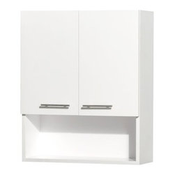 "Wyndham Collection - Wyndham Collection WCV207WH White Centra Centra Wall Mount Bathroom - Centra Wall Mount Bathroom Cabinet with Brushed Chrome Hardware The Centra wall cabinet is a great way to add a little storage space to your bathroom oasis. This ergonomic and elegant wall cabinet is designed to be placed over the toilet or used as extra wall storage just where you need it most. Soft-close doors ensure peace and quiet in your bathroom oasis, and brushed nickel hardware accents complete the look and compliment any modern bathroom setting. Wyndham Collection WCV207 Features:  Minimal assembly required Metal exterior hardware with brushed chrome finish Two soft-close doors Three (3) storage levels Cabinet Dimensions 24""W x 8-3/4""D x 29""H All Wyndham Collection products ship from Southern California  About Wyndham Collection Wyndham Collection is a line of bathroom furnishings for those who expect innovation and sophistication. By owning their own factory, Wyndham Collection has complete control over the manufacturing process, and the ability to commit to the quality and longevity of their products. To the consumer, this means that you are guaranteed a vanity that was created through thoughtful design and is backed by a full 2-year warranty. This warranty period may not sound like much, but consider this: nearly every other vanity manufacturer on the market only commits their product to a 1 year warranty. Why offer a warranty that doubles the average? Because Wyndham is certain they have developed a product far better than par."