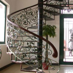 Indoor and outdoor wrought iron stairs -