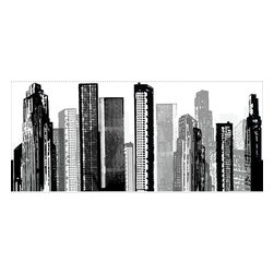 RoomMates - Cityscape Peel & Stick Giant Wall Decal - Bring a taste of the big city into any room with this stunning silhouette of a modern cityscape. This unique design is an effortless way to add style to any room. Unlike stencils or more permanent wall graphics, RoomMates wall decals apply in seconds and can be removed or repositioned at any time, with no sticky residue or damage to the surface. Apply this design on its own as an art piece on the wall, or use it creatively behind couches or furniture... or why not try it as a headboard for your bed? You'll feel like you're part of the big city every time you see it.