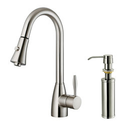 Vigo - Vigo Stainless Steel Pull-Out Spray Kitchen Faucet with Soap Dispenser - Purchase a Vigo pull-out kitchen faucet for optimal spout reach and height.
