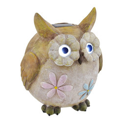 Zeckos - Owl Garden Accent with Solar Powered Light Up Eyes - This owl figure adds an adorable accent to your garden or flower bed. It has solar powered light up eyes and is adorned with pink and blue flowers. Made of cold cast resin, it measures 8 1/4 inches tall and 6 inches in diameter. The lights are controlled by an on/off switch on the bottom, and the rechargeable batteries are replaceable so you can enjoy this garden statue year after year.