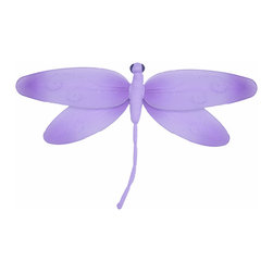 Bugs-n-Blooms - Hanging Dragonfly Small Purple Swirls Nylon Dragonflies Wall Ceiling Decorations - Hanging Swirls Dragonfly - Beautiful nylon hanging kids wall or ceiling decor, baby decoration, childrens decorations. Ideal for Baby Nursery Kids Bedroom Girls Room. This nylon dragonfly has pretty swirls of glitter to give it that special shine. This pretty dragonfly decoration is made with a soft bendable wire frame. Beautiful 3D hanging nursery, bedroom, birthday party, baby shower or wedding decor. Includes a piece of fishing line and hoop for easy hanging to any wall or ceiling (removable if desired). Sold individually. Visit our store for more great items. Additional sizes are available in various colors, please see store for details. Please visit our store on 'How To Hang' for tips and suggestions. Please note: Sizes are approximate and are handmade and variances may occur. Price is per each dragonfly (1) piece