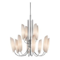 KICHLER - KICHLER 42212CH Stella Soft Contemporary/Casual Lifestyle Chandelier - The Stella Collection artfully draws the eye skyward. Gracefully arched supports beautifully cradle the curved Satin Etched Cased Opal Glass. Vertical lines offset smooth oval shapes, creating this exceptional 12 light, 2 tier chandelier.For extra 12 inch stems, order KCH-2999CH and for additional chain order KCH-2996CH.