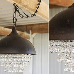 Metal Chandelier With Glass Crystals - This metal and glass crystal light fixture, is sure to be the focal point in any room. Place it over your dining room table, above the kitchen sink to make washing dishes a little more enjoyable, one on either side of your bed.